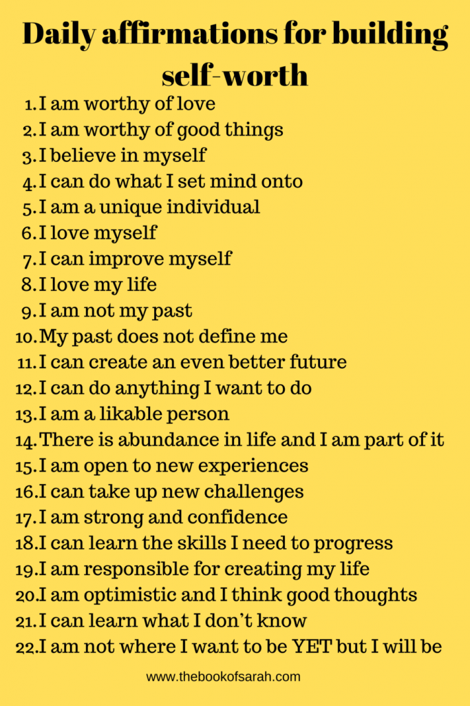 daily affirmations for building self-worth